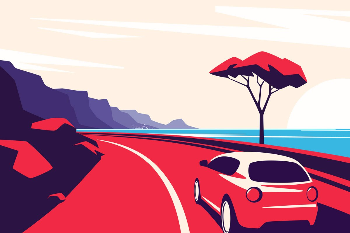 In this illustration, a car drives on a road that's between mountains and water.