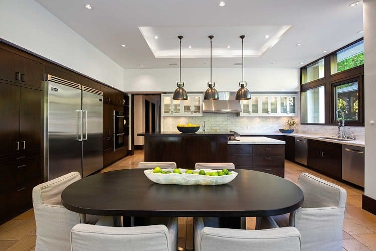 kitchen in Matt Damon's house in Los Angeles, now on the market for $21 million.